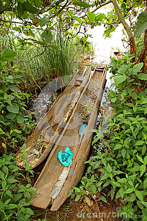 Dugout Canoes on a Ugandan Shoreline