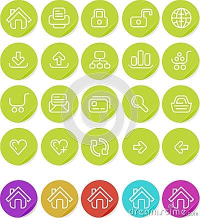 Duidelijk geplaatst stickerspictogram: Website en Internet