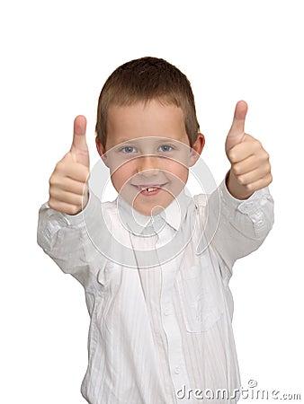 Duimen omhoog, goed uitgevoerd gebaar, glimlachende jongen