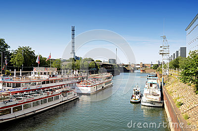 Duisburg Inner Harbour  -Cruise ships Gerhard Mercator Editorial Photography