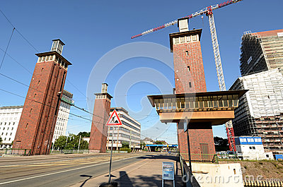 Duisburg Inner Harbour -Moving bridge Editorial Photography