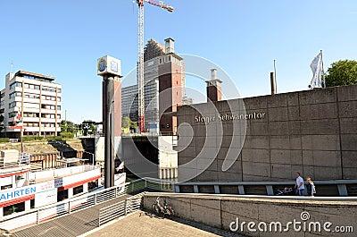 Duisburg Inner Harbour -Moving bridge Editorial Image