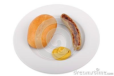 Duitse braadworst met broodje en mosterd