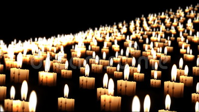 Duizenden kaarsen in de nacht, sluiten omhoog, dof