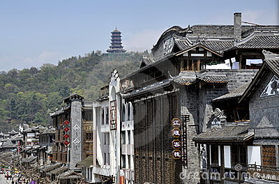 Dujiangyan, China: Classic Chinese Buildings Editorial Photo