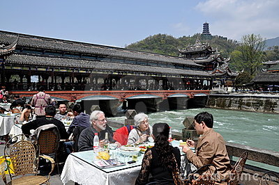 Dujiangyan, China: Nan Qiao Bridge & Restaurant Editorial Photography