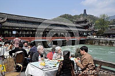 Dujiangyan, China: Nan Qiao Bridge & Restaurant Editorial Photography
