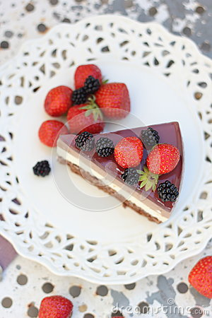Free Dukan Cake With Chocolate And Jelly Berries Stock Photo - 26793200