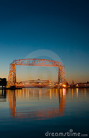 Duluth Minnesota Lift Bridge Dawn Reflection