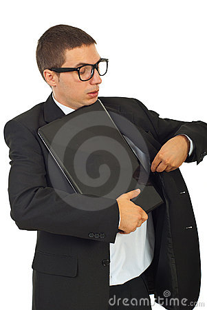 Dumb business man put laptop in jacket
