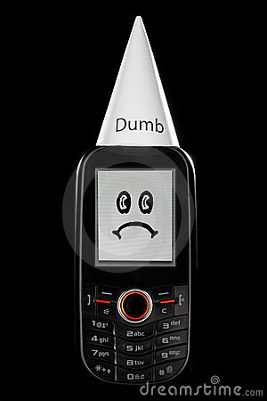 Dumb Phone with Sad Face and Dunce Hat