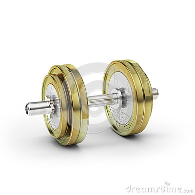 Dumbbell with euro coin
