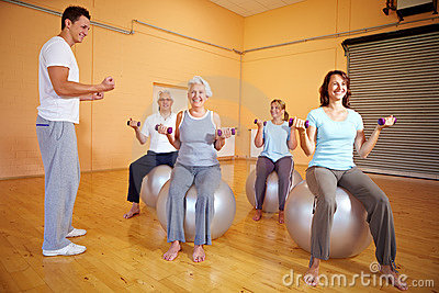 Dumbbell exercises in gym