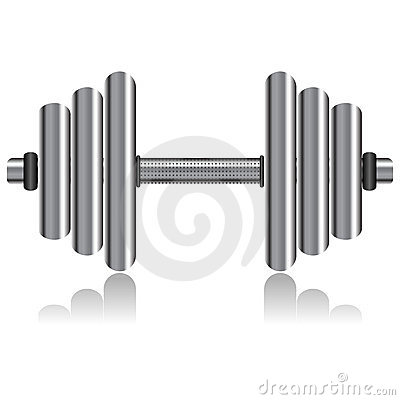 Dumbbell Over White Stock Images - Image: 16271624