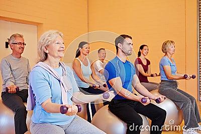 Dumbbell training in health club