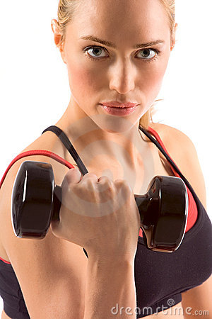 Dumbbell woman weight workout in gym