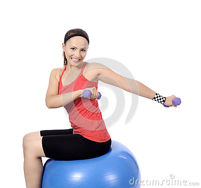 dumbbell woman weight workout in gym stock photo  image