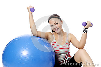 dumbbell woman weight workout in gym stock images  image