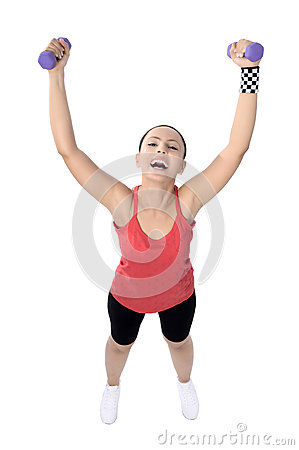 dumbbell woman weight workout in gym royalty free stock