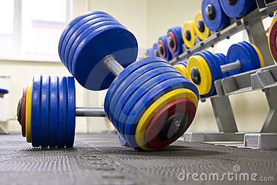 Dumbbells in fitness club