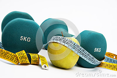 Dumbbells and measure tape