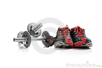 Dumbbells and tennis shoes