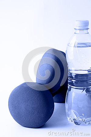 Dumbbells and water