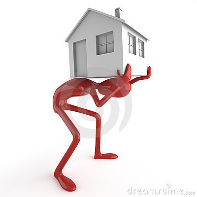 Dummy carrying house on his back