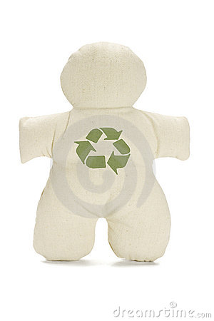 Dummy doll with recycle symbol
