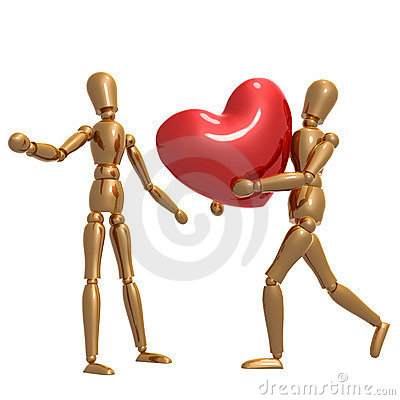 Dummy figure holding valentine heart