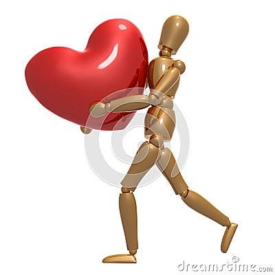 Dummy figure running for love