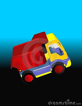Dump truck heading out illustration..