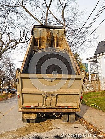 Dump Truck in residential street