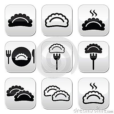 Dumplings, food  buttons set