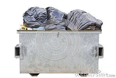 Dumpster full of rubbish over white