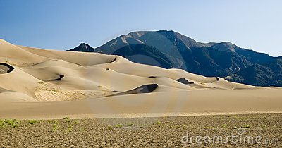 Dune field and mountains