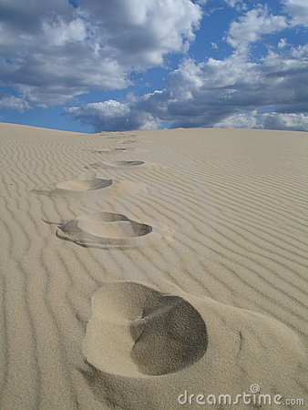 Free Dune Footprints Royalty Free Stock Photography - 3312967