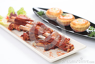 Duo of lamb ribs and lamb pie