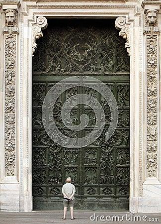 Duomo di Milano entrace facade Editorial Photo