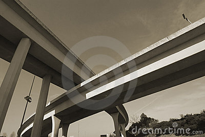 Duotone of Interstate Overpass