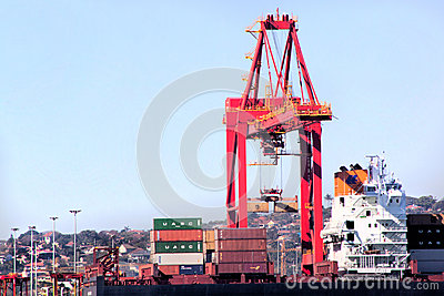 Durban South Africa Container Crane Loading Ship in Harbor Editorial Photography