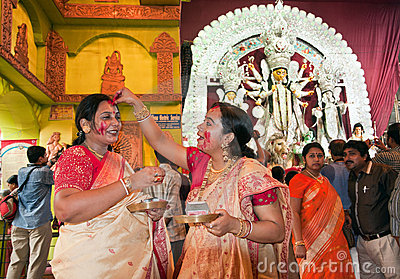 Durga Puja Sindur Khela (Vermilion ceremony) Editorial Stock Photo