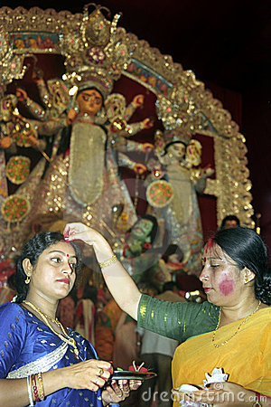 DURGA-VERMILION blessings OF PROSPERITY Editorial Stock Photo
