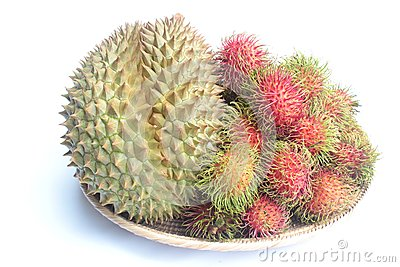 Durian and Rambutans on white background