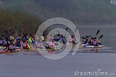 Paddlers Canoe Racing River Editorial Image