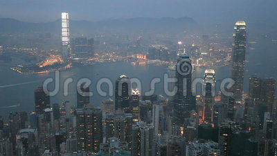 dusk Χογκ Κογκ Άποψη από την αιχμή Βικτώριας φιλμ μικρού μήκους