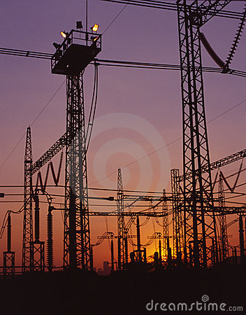 Dusk electricity lines