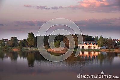Dusk over a lake