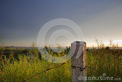 Dusk suburban barbed wire