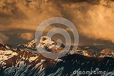Dusk in wallis alps